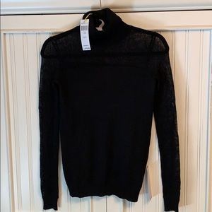 BCBGeneration mesh top turtle neck sweater